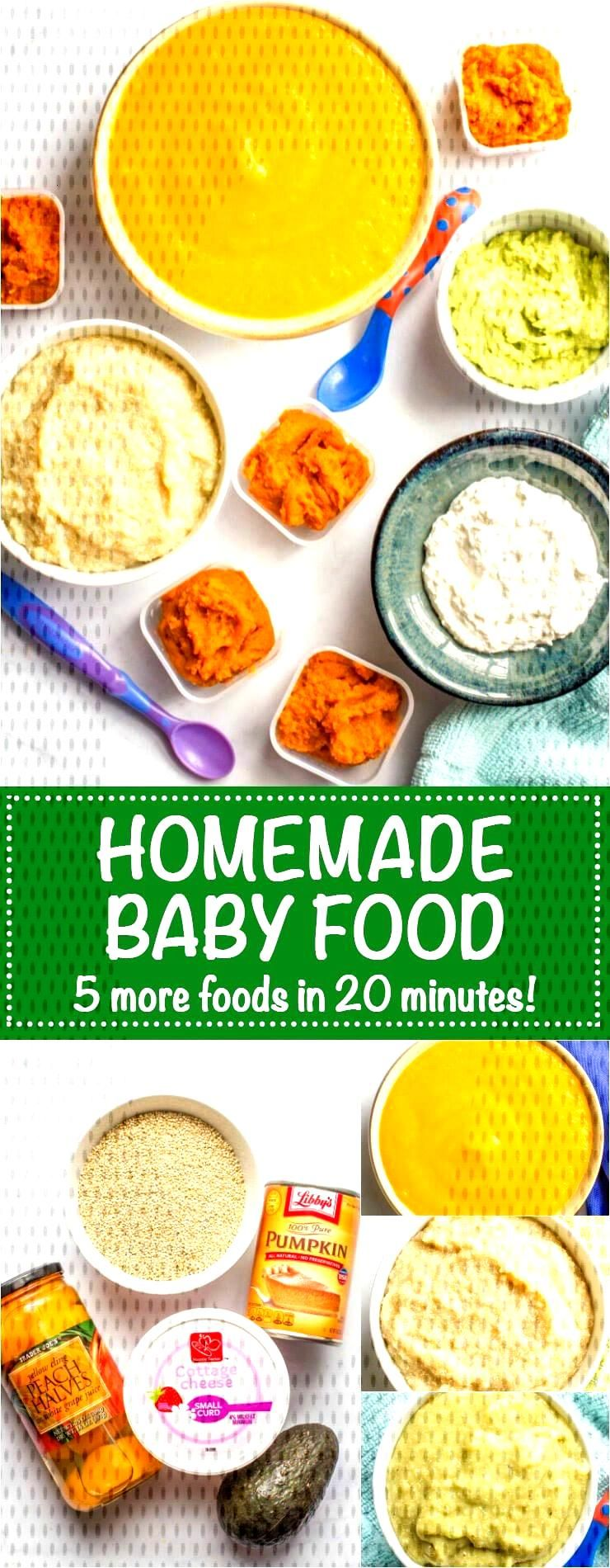 Homemade baby food: Quinoa, peaches, avocado, pumpkin and cottage cheese - Family Food on the Table