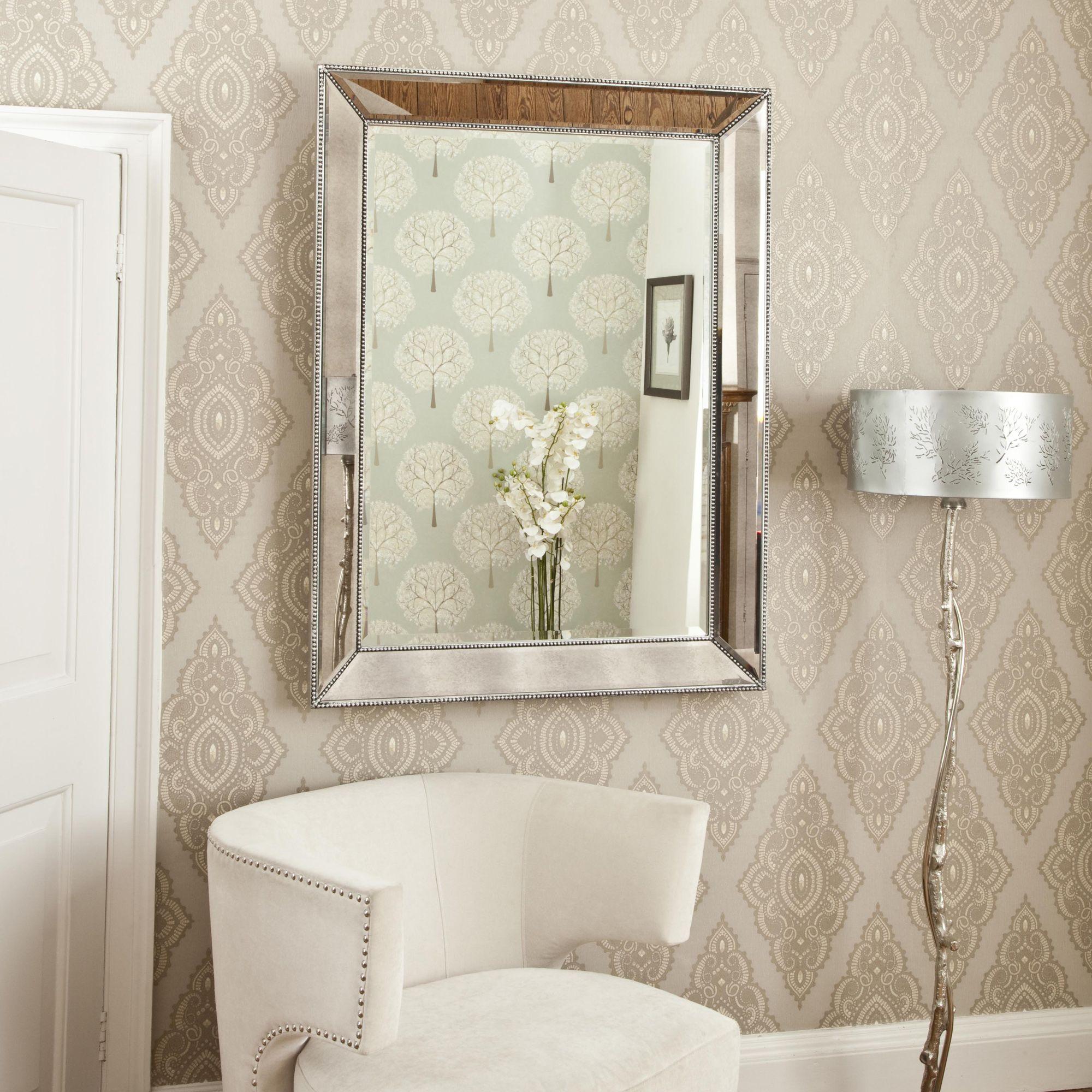 Deep Angled Silver Beaded Wall Mirror   Bathrooms   Pinterest ...