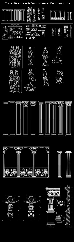 Architecture Decoration blocks bundle Decorative Elements
