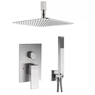 Fontanashowers Lima Ultra Thin Rain Head Thermostatic Complete Shower System With Rough In Valve Shower Systems Shower Heads Fixed Shower Head