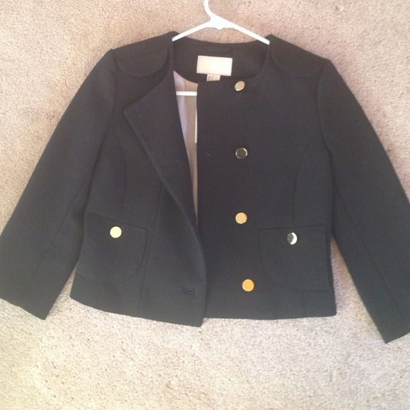 NWT Black H&M Jacket w Gold Buttons Black H&M Jacket. Size 2. NWT. Jacket hits above waist. 3/4 sleeves. Gold buttons down center and 2 at each sleeve. Faux pockets in front. 68% Polyester. 29% Viscose. 3% Elastane. H&M Jackets & Coats