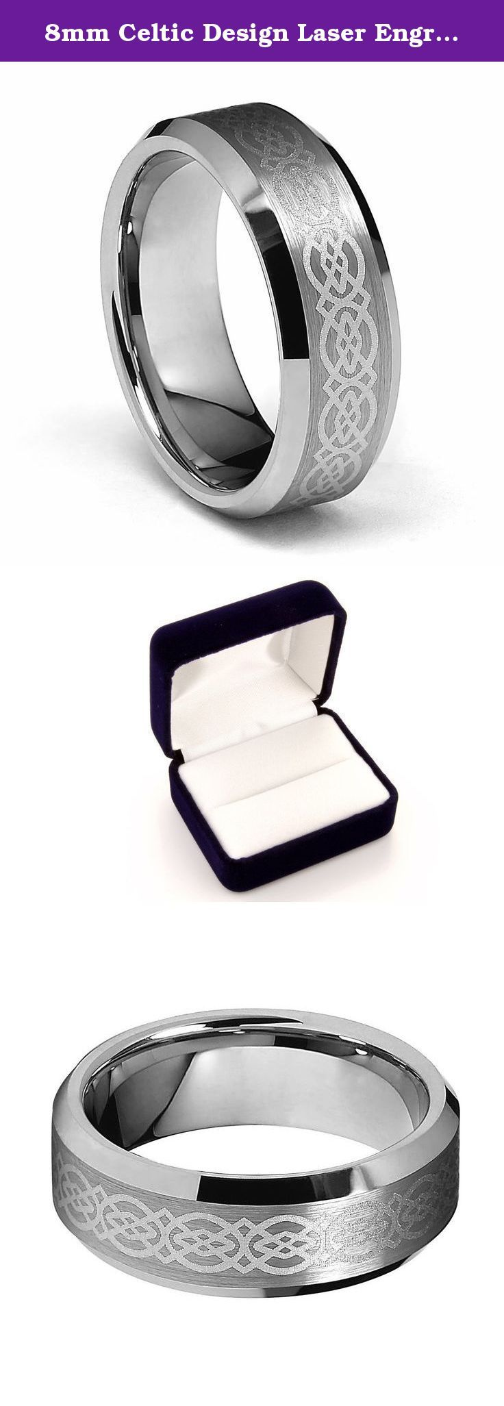 8mm Celtic Design Laser Engraved Men's Tungsten Wedding