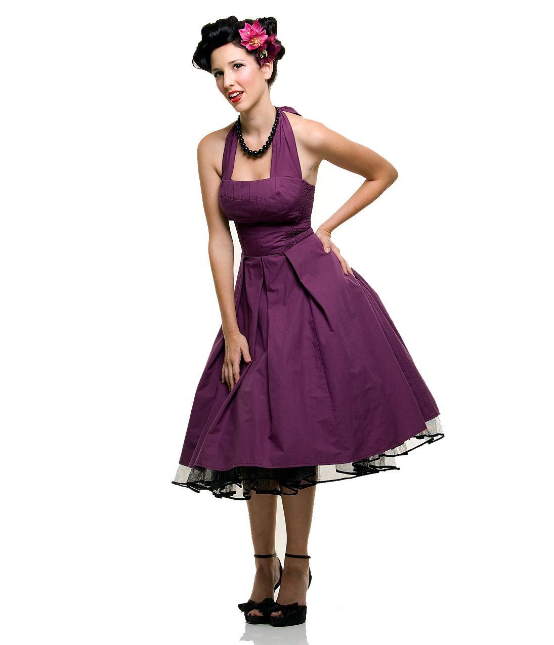Matching bridesmaid dress? $98 Eggplant Flirty Cotton Swing Dress ...
