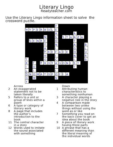 Crosssword Puzzle With Answer Key Crossword Puzzle Crossword