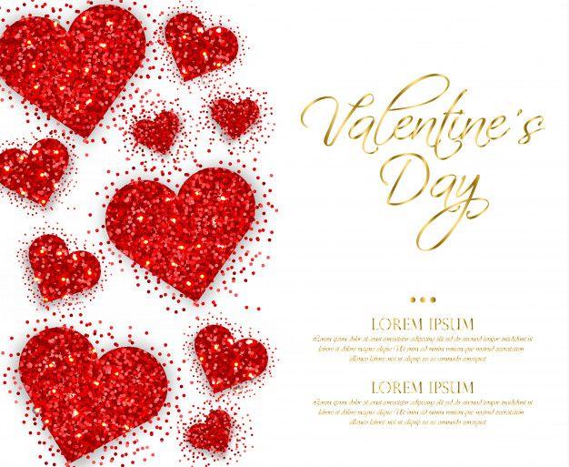 Corações vermelhos brilhantes Dia dos Na  Premium Vector