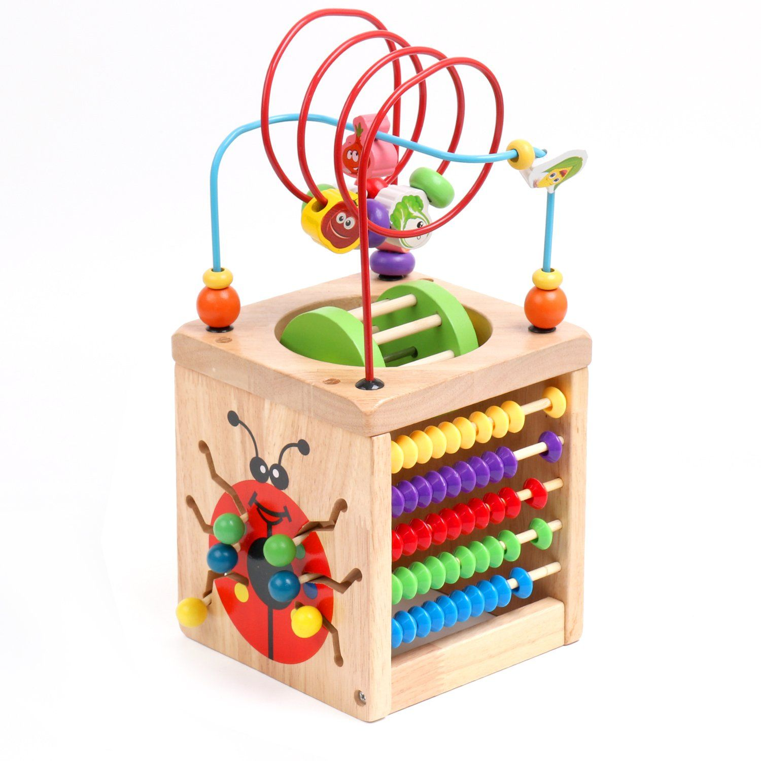 Awesome Multifunction Bead Maze, Amagoing 6 In 1 Wooden Cube Activity Center  Learning Cube Amazing Design