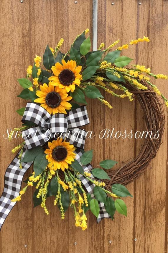 Photo of Sunflower Wreath, Farmhouse Wreath, Year Round Wreath, Summer Wreath, Spring Farmhouse Wreath, Fall