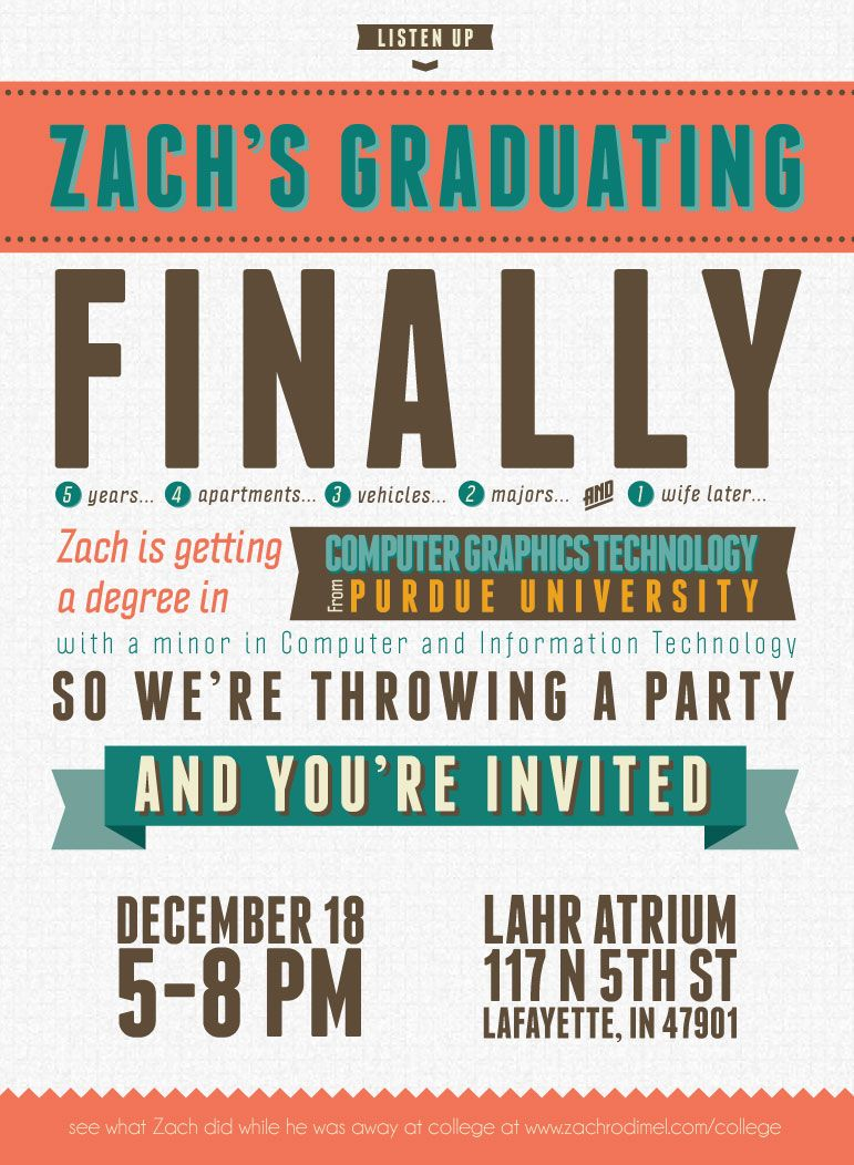 free typography-style college graduation invitation indesign, Invitation templates