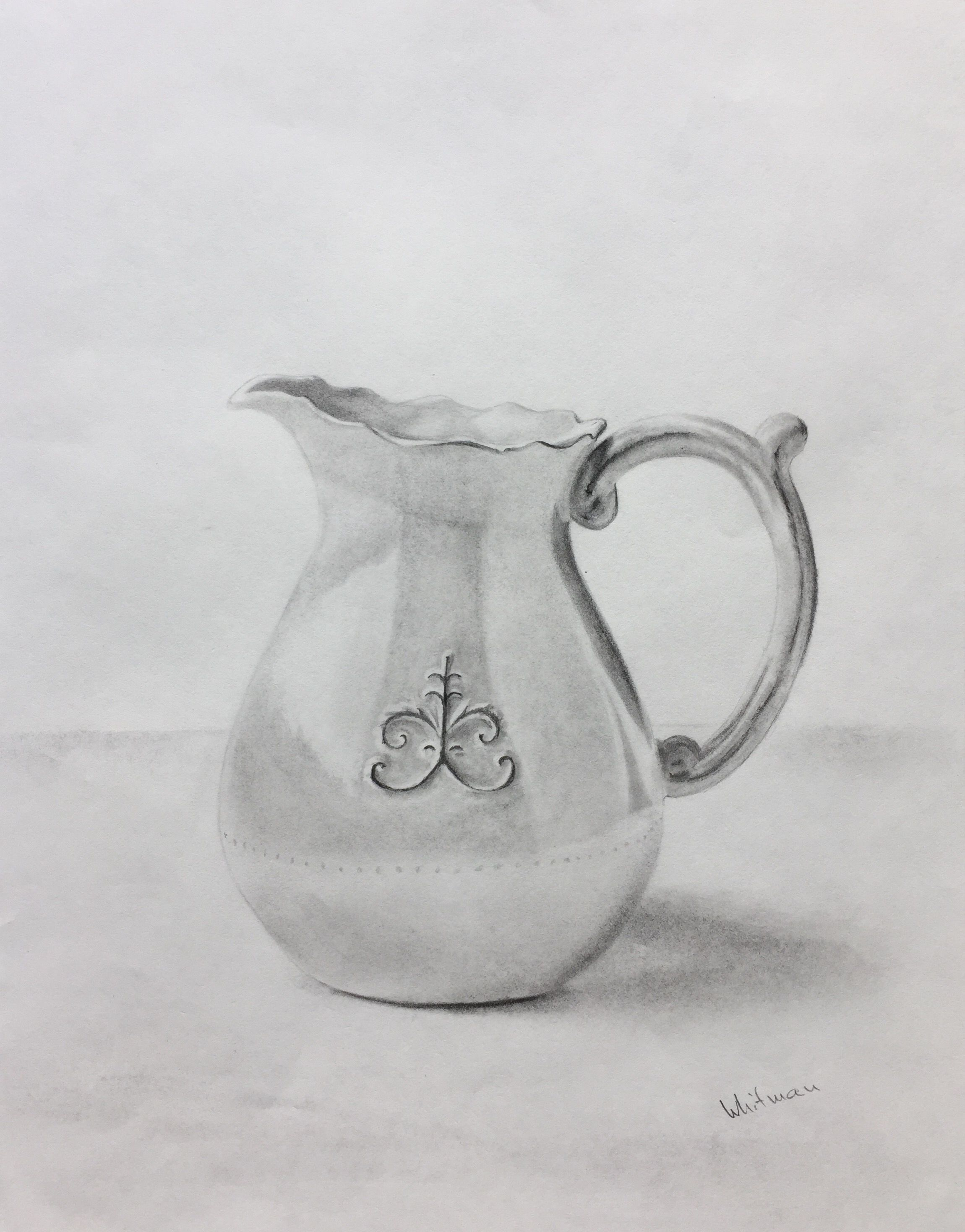 50 milk pitcher sketch original art graphite pencil drawing by elena whitman