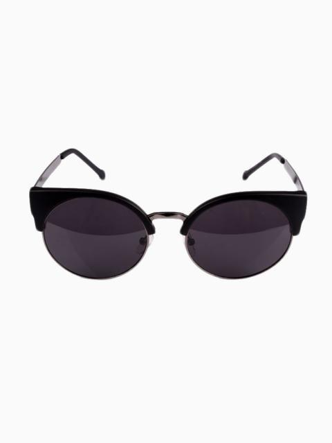871e2d3152a Black Half Frame Angular Cat Eye Sunglasses