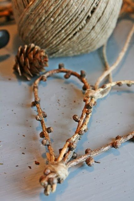 Beautiful twig and twine heart decorations