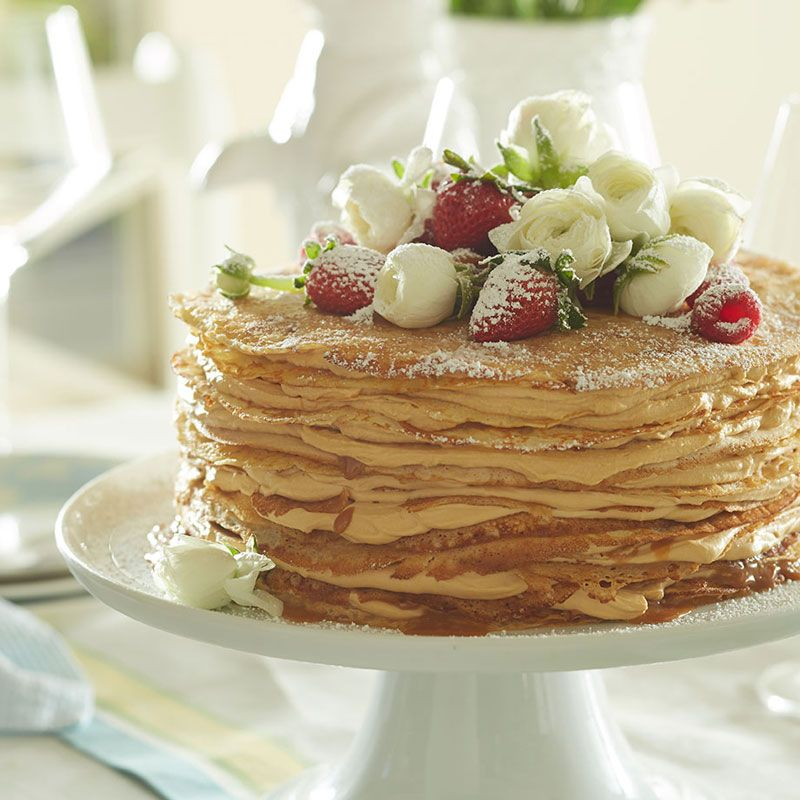 Popular in France, a gâteau mille crêpes (thousand-crepe cake) is traditionally made with a thin layer of pastry cream separating each crepe layer. Here, however, ... read more
