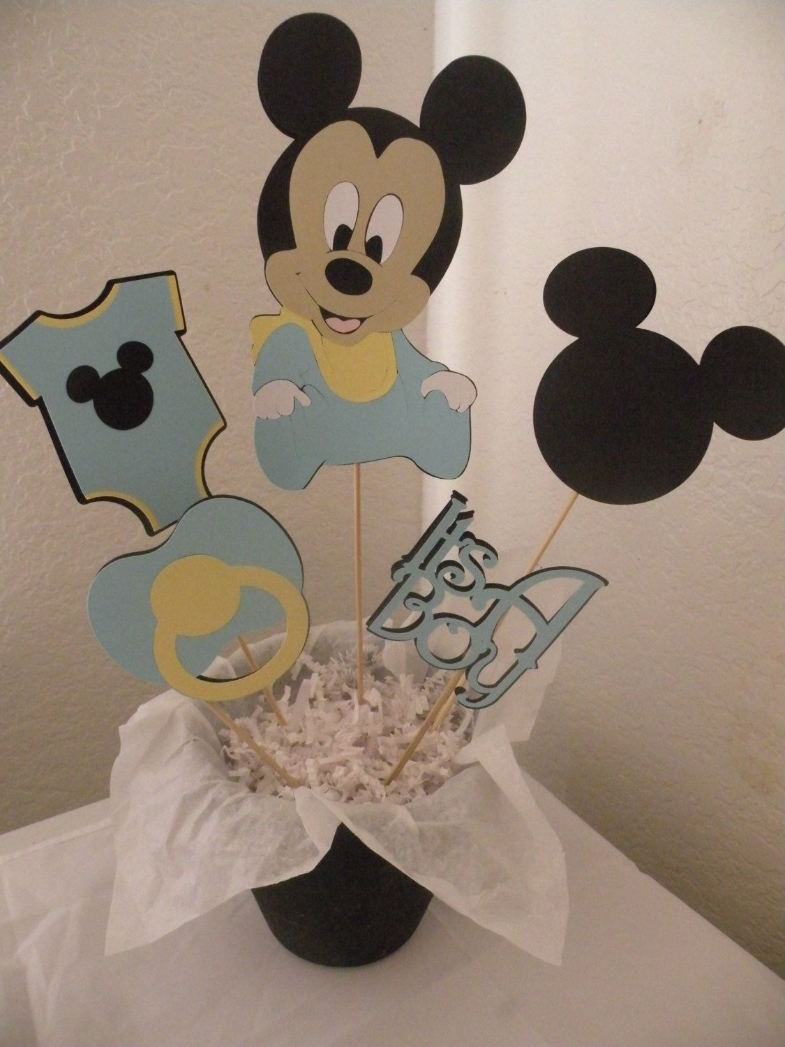 Personalized Mickey Mouse Baby Shower Centerpiece With Baby Mickey, Onesie,  Mickey Head, Title