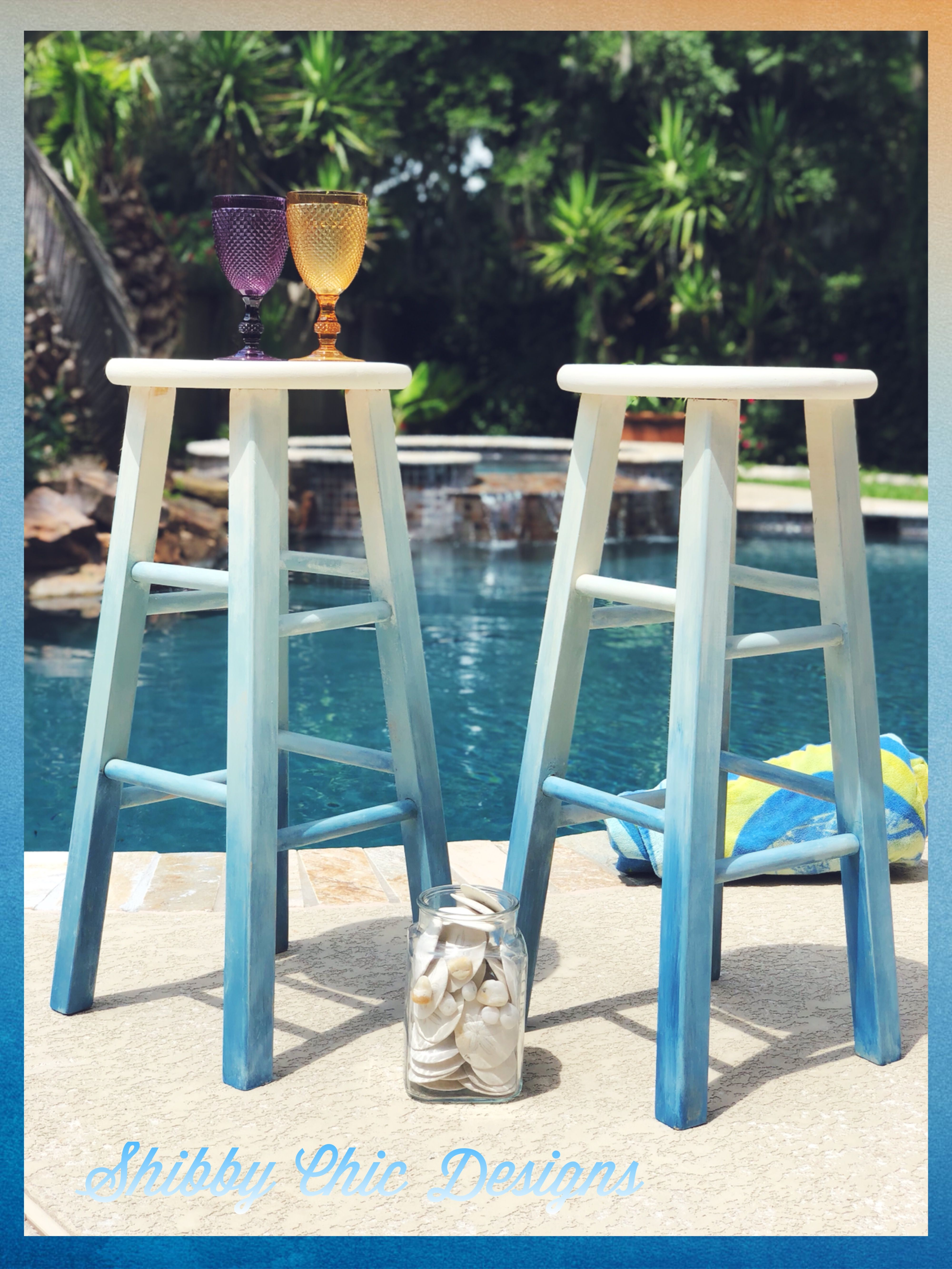 Bar Stools Painted In Hues Of White And Blues Ombre Technique For