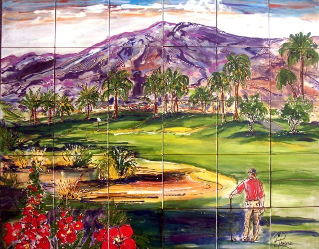 Carolyn Payne Landscape Paintinggolf Tile Muralhand Painted - Ceramic tile murals for outdoors