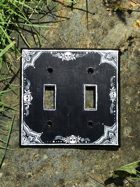 Black And White Skull And Flowers Design Light Switch Cover Wall Plate Switchplate Cover Hand Painte Light Switch Covers Switch Covers Switch Plate Covers