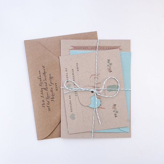 Wedding Invitation / / Rustic & Modern Kraft by YellowDoorCreative