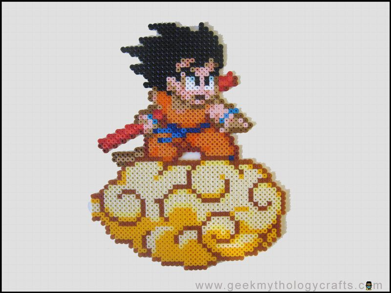 Son Goku On Kinto Un By Geekmythologystudios On Deviantart Perler Bead Art Diy Perler Beads Perler Beads Designs