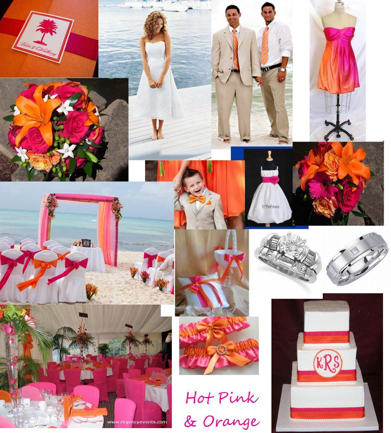 orange and hot pink beach wedding compilation | orange