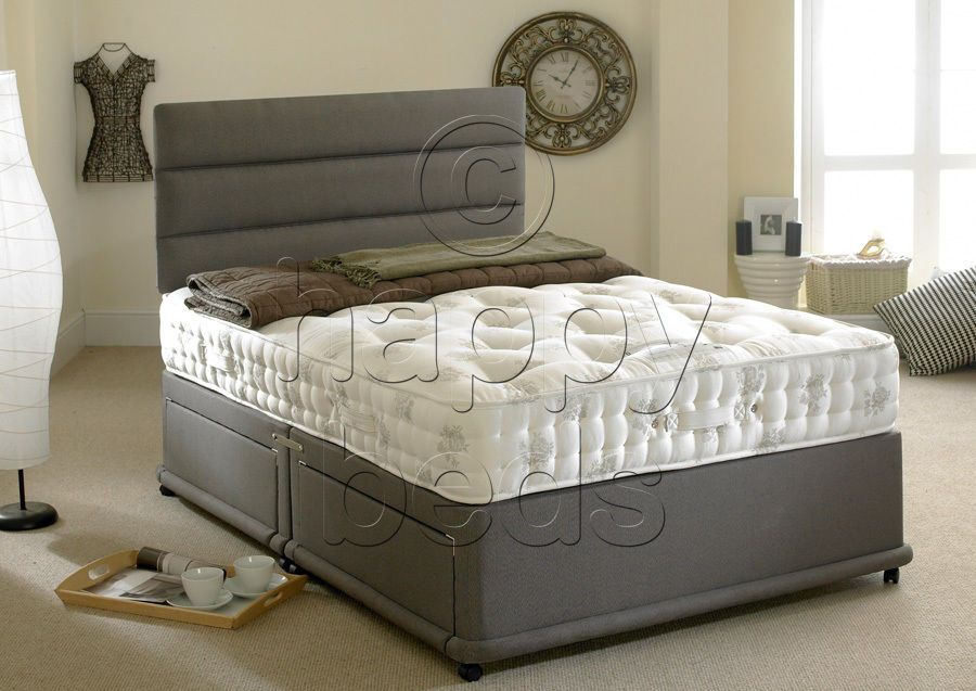 New Silver Divan Bed Set With Headboard,Drawers /& Mattress-Free Delivery