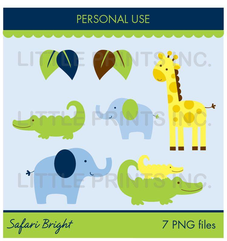 Safari Bright Jungle Animal Clip Art for Personal Use Make your ...