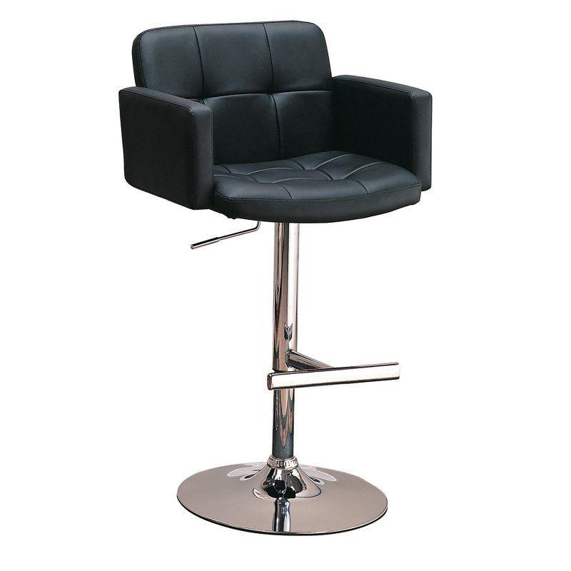 Coaster Furniture Tufted 42 in. Adjustable Bar Stool Black - 120352