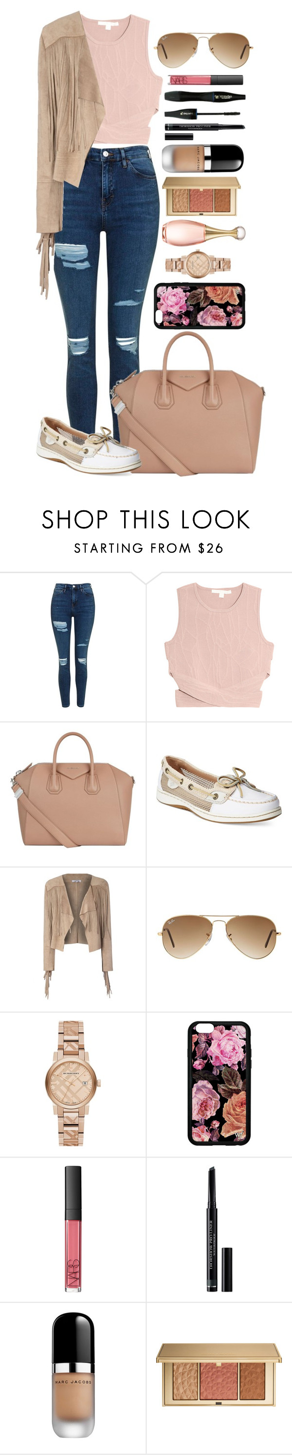 """""""Untitled #1492"""" by fabianarveloc on Polyvore featuring Topshop, Jonathan Simkhai, Givenchy, Sperry, Glamorous, Ray-Ban, Burberry, NARS Cosmetics, Lancôme and Christian Dior"""