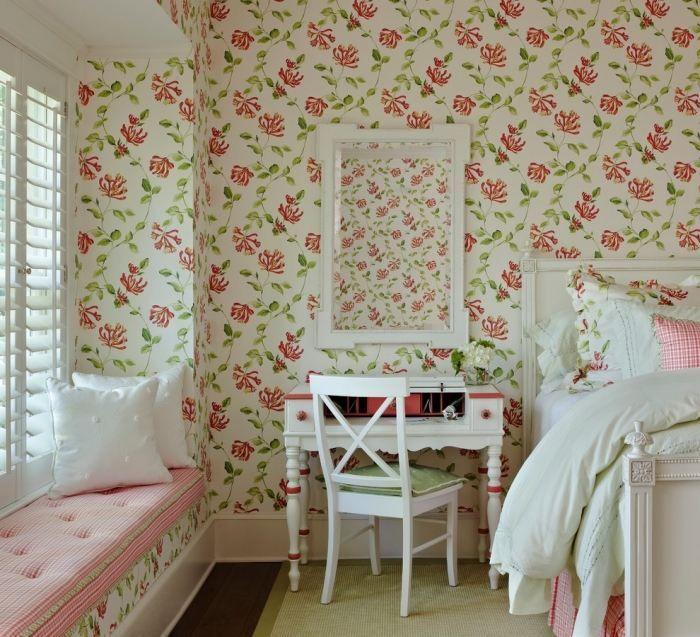 Shabby-Chic Tapeten als florales Dekor-traditionelle Ideen für das ...