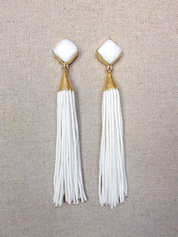 White Stud Beaded Tel Earrings