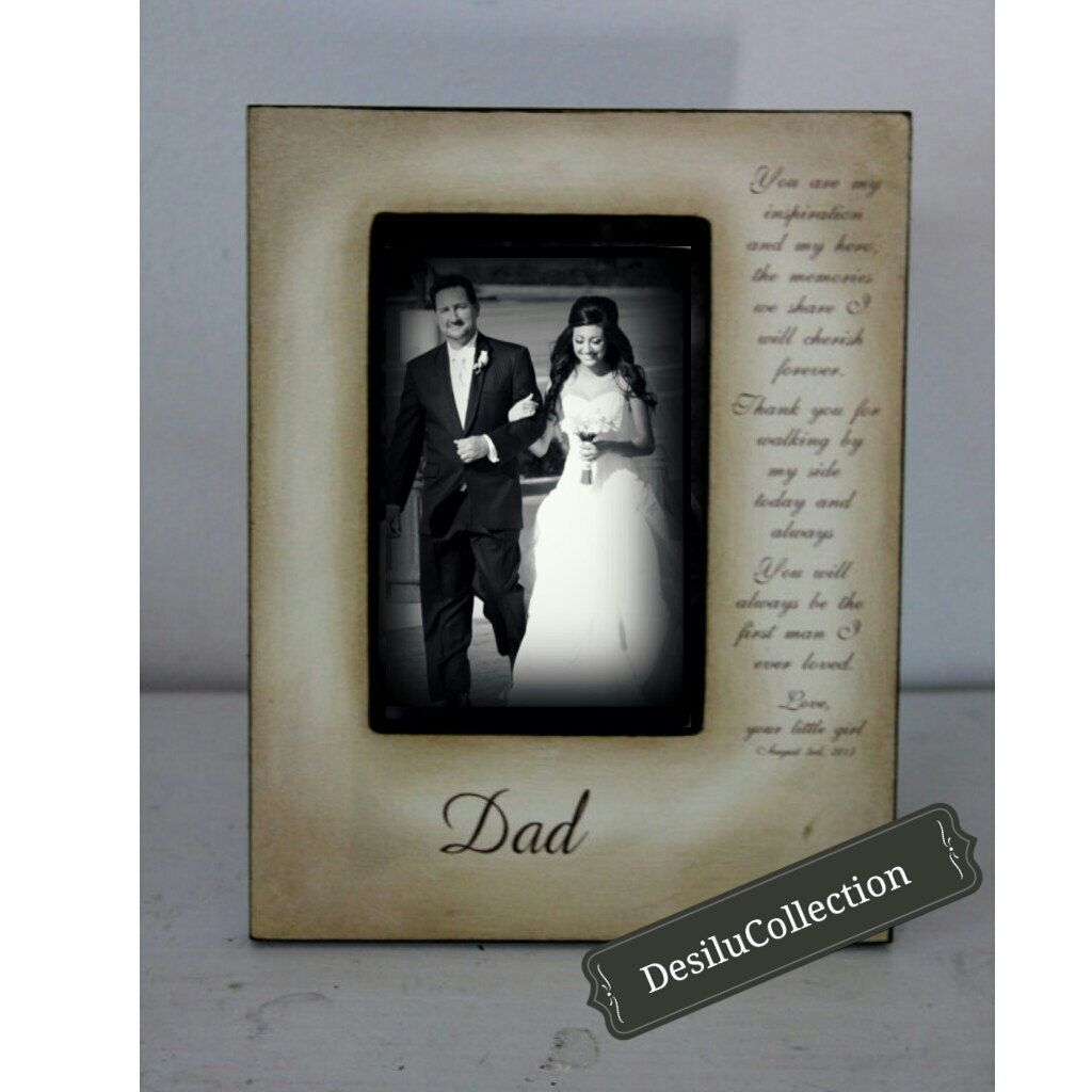 Father Daughter Wedding Picture Frame Bride Just For Dad Father Of