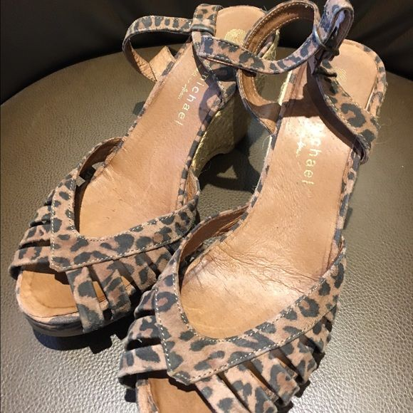 Eric Michael Leopard Print Leather Sandals sz 7.5 Good used condition ! Leather wedge sandals by Eric Michael. Size 7.5 Eric Michael Shoes Sandals