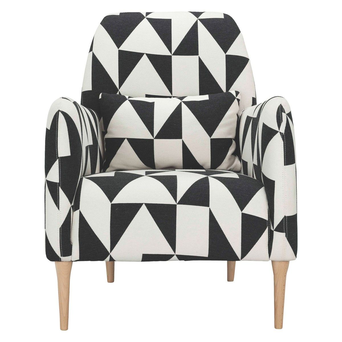 Black White Geometric Fabric Patterned Armchair Black And White