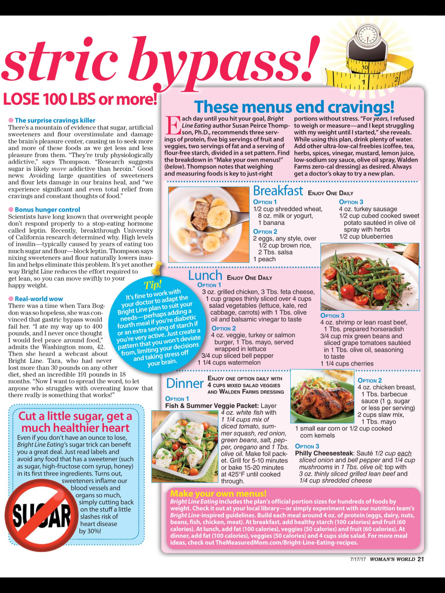 menu for better than gastric bypass diet