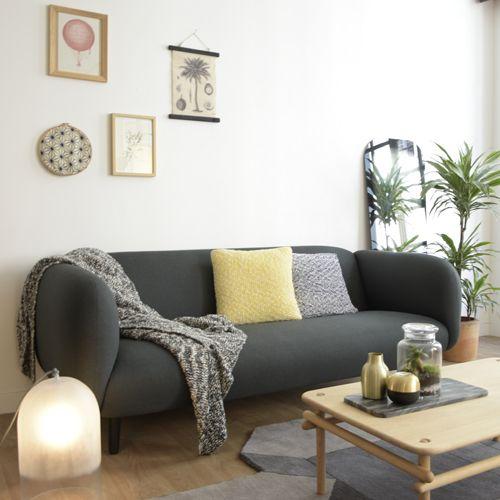 Canapé en tissu anthracite L 204 pied bois massif Mo¯ra Eno Studio