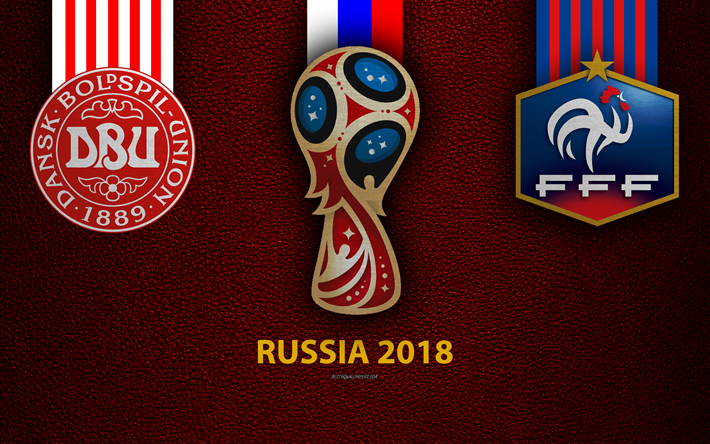 Download Wallpapers Denmark Vs France 4k Group C Football 26 Jun 2018 Logos 2018 Fifa World Cup Russia 2018 Burgundy Leather Texture Russia 2018 Logo Cup Denmark France National Teams Football Match