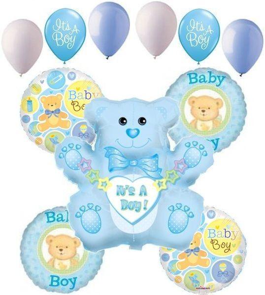 11pc baby boy balloon decoration party bear shower welcome for Baby welcome party decoration ideas