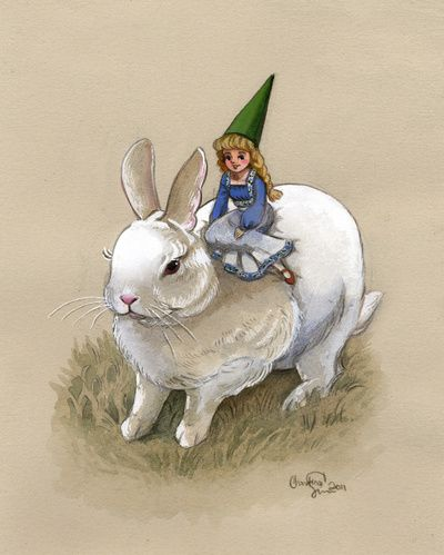 Lady Gnome and Rabbit Art Print