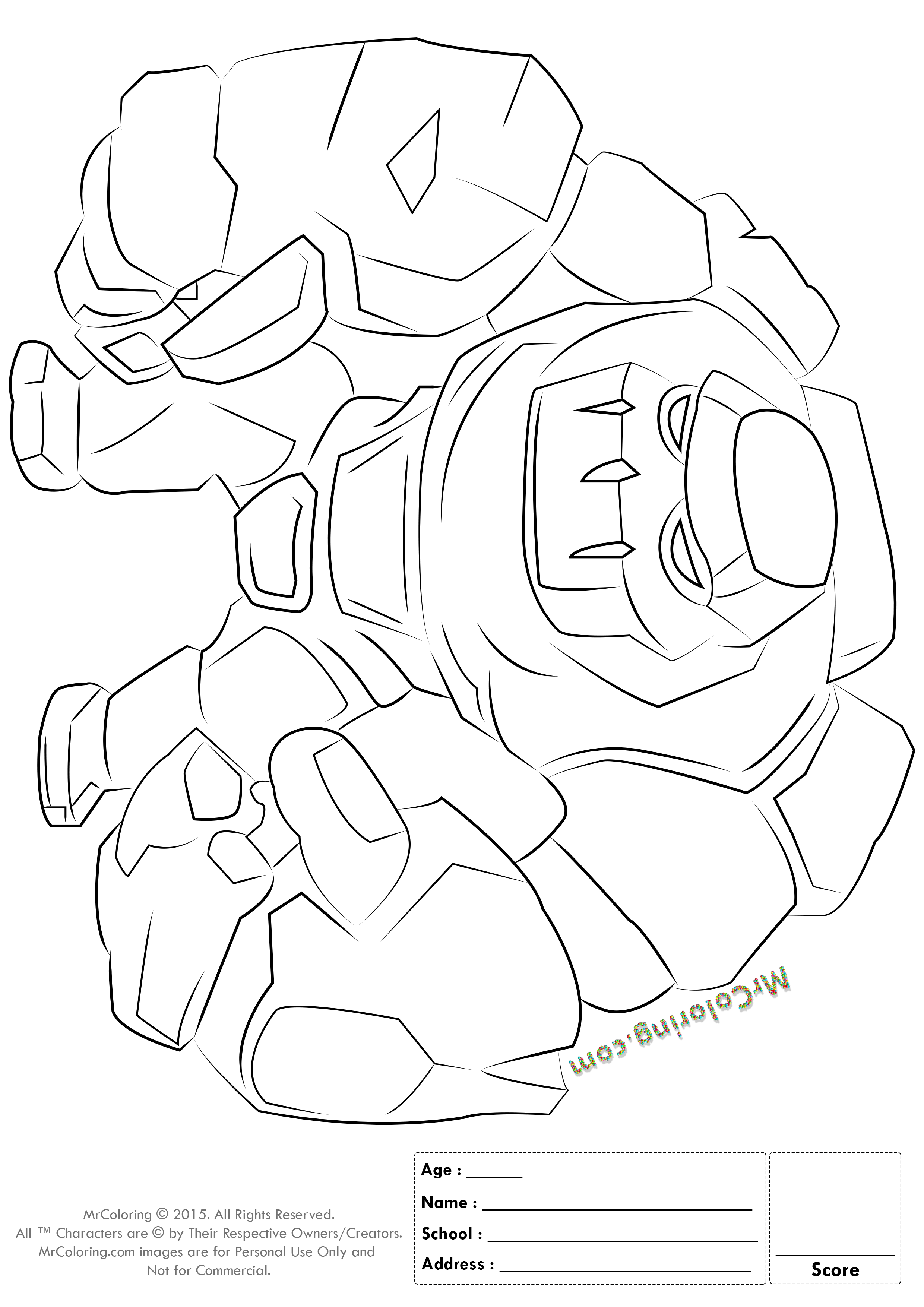 Free Printable Clash Of Clans Golem Coloring Pages 1 Enzo
