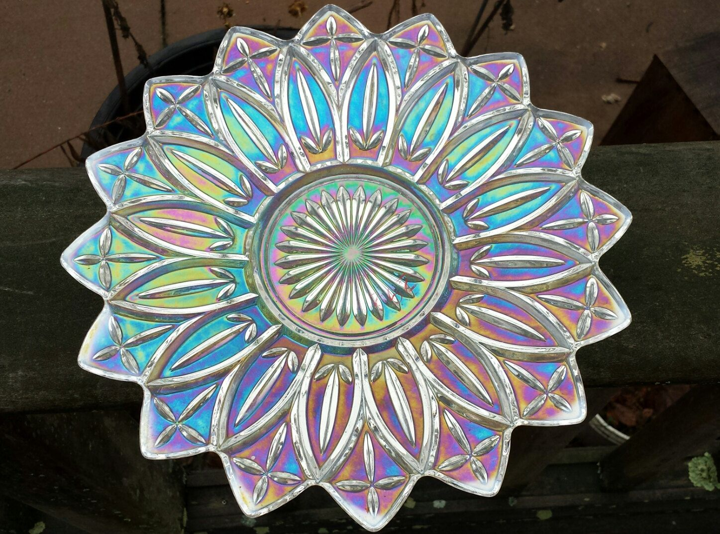 Carnival glass clear iridescent glass serving bowl in the petal carnival glass clear iridescent glass serving bowl in the petal pattern by federal glass 1960s d077 3 reviewsmspy
