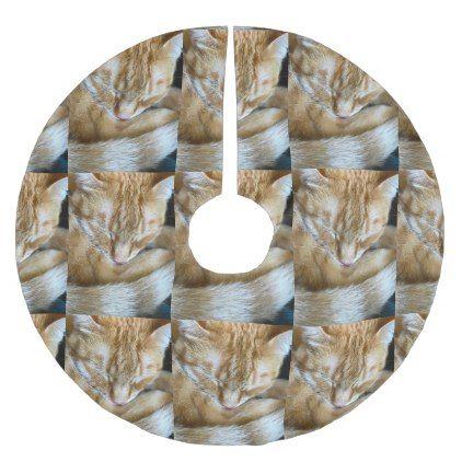 Sleeping orange tabby cat brushed polyester tree skirt - cat cats kitten kitty pet love pussy