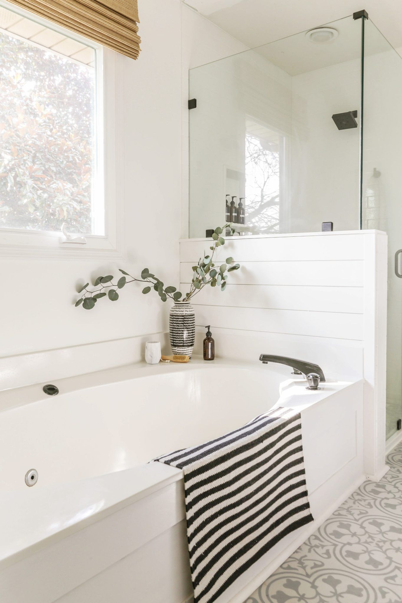 Reveal Boho Farmhouse Master Bathroom Remodel With Decor Sources In 2020 Farmhouse Master Bathroom Bathroom Remodel Master Bathrooms Remodel