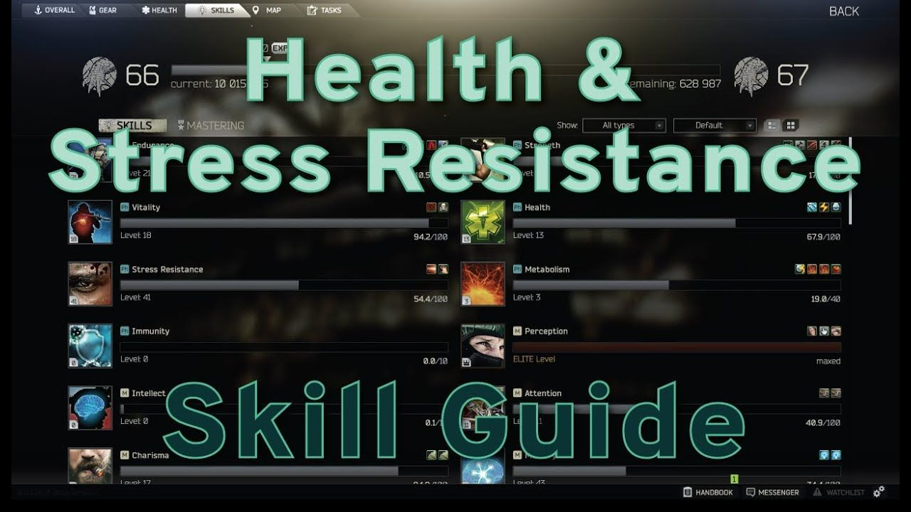 Health And Stress Resistance Skill Guide Escape From Tarkov In 2020 Stress Skills Health