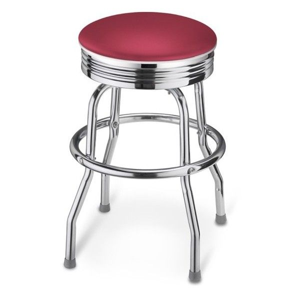 """Diner Stool, 24"""" ($169) ❤ liked on Polyvore featuring home, furniture, stools, kitchen, props, seating, foot stool, padded stool, american furniture and padded foot stool"""