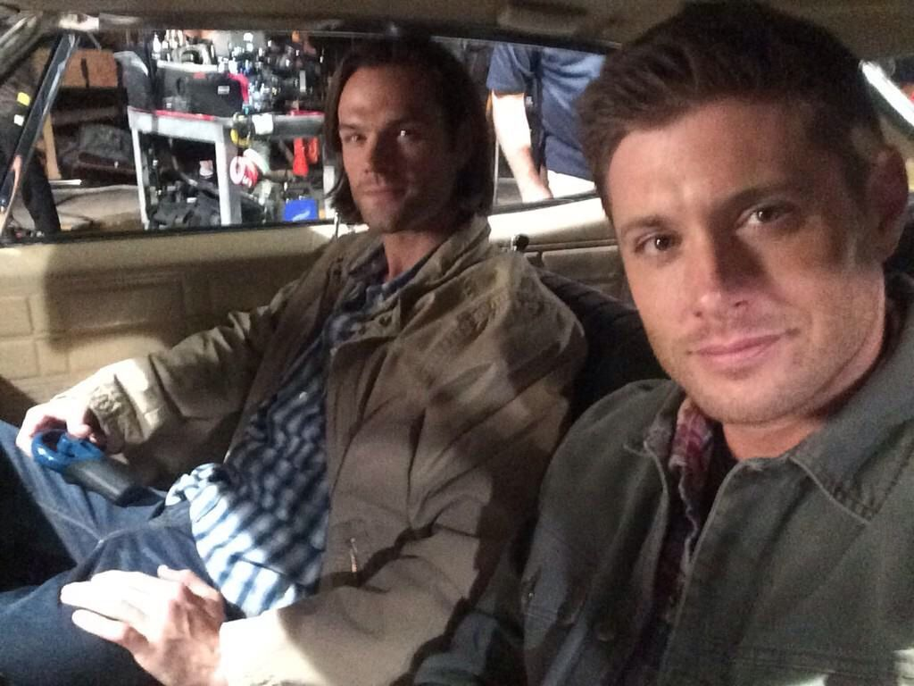From Jensen's Twitter!!  @JensenAckles: Last day of episode 200! Me and @jarpad sittin where we belong. #Supernatural