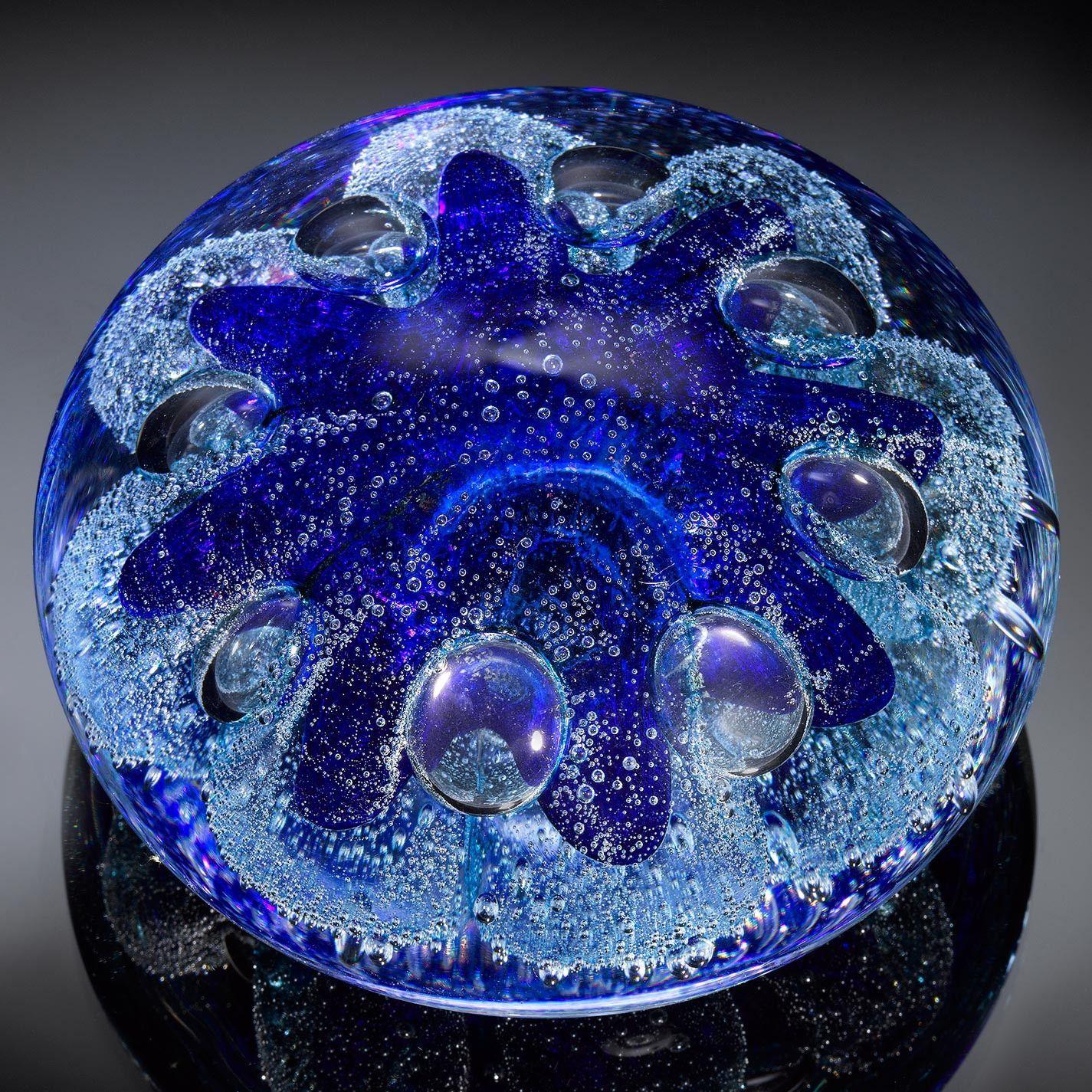 Nautical Series Urchin Cerulean Blue Paperweight Artistic Hand Blown Glass