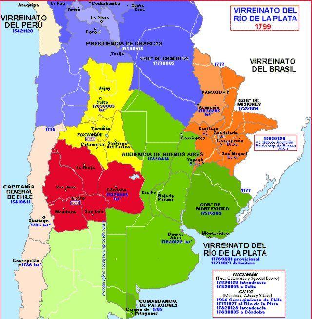 Virreinato Del Río De La Plata En 1799 Mapa De America Mapa Historico Historia De America