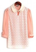 Pink Patchwork Lace Bow Double-deck Collar Chiffon Blouse