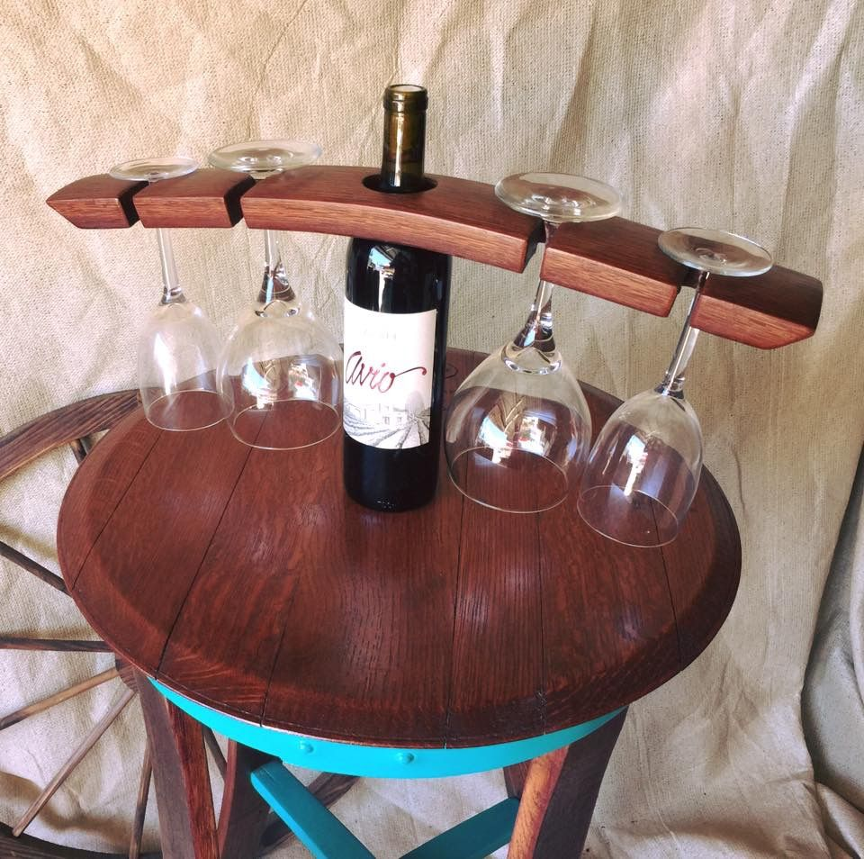 Wine Barrel Stave 4 Wine Glass Holder Made By Country Cowgirl S Creations Wine Glass Holder Barrel Stave Glass Holders