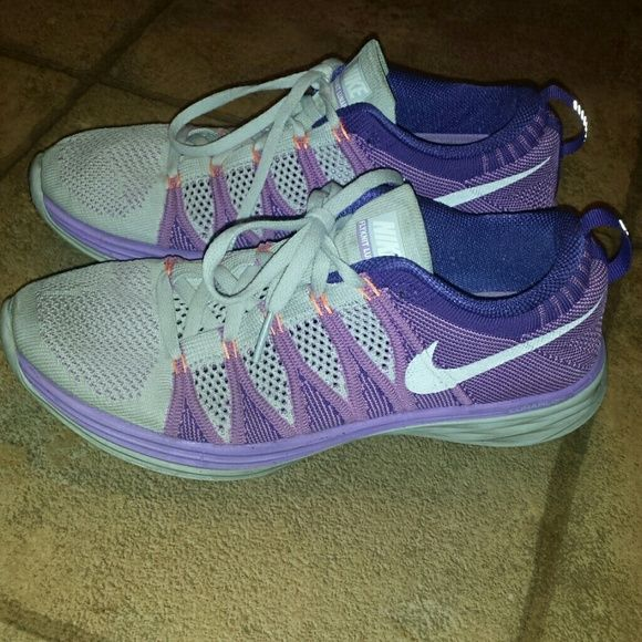 e67db4a0e47f Womens NIKE Flyknit lunar 2 size 9 purple Womens NIKE Flyknit lunar 2  running shoes. Size 9. Color is purple   light gray. Toes   soles show some  wear but ...