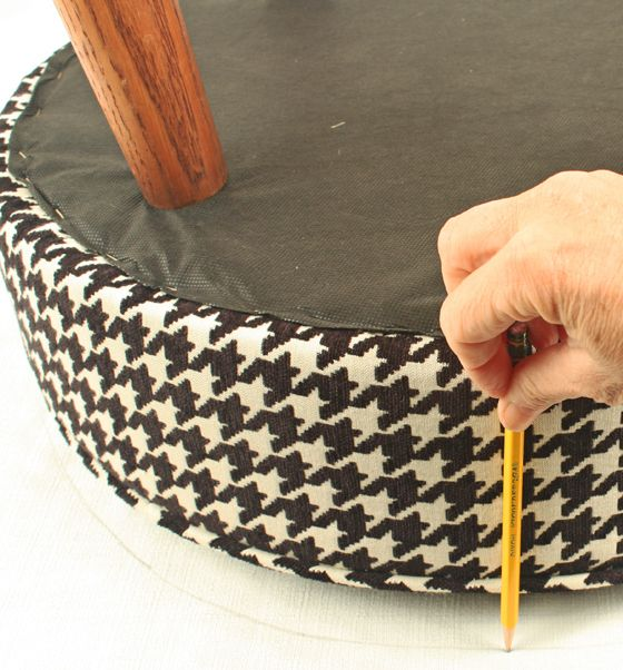 How To Upholster A Round Stool Round Stool Diy Bar Stools Bar
